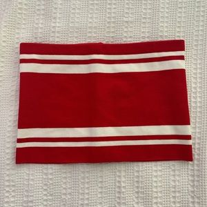 Tops - Red & White Striped Tube Top. Size: M. NEVER WORN!